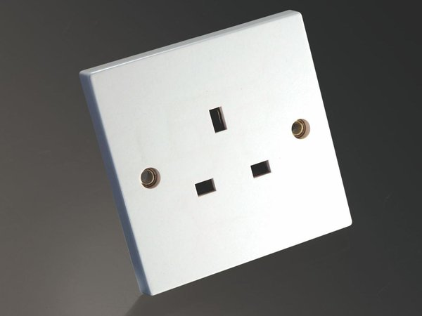 MS HD Power MS-9297Rh UK single gang wall socket for Audio and A/V Rhodium