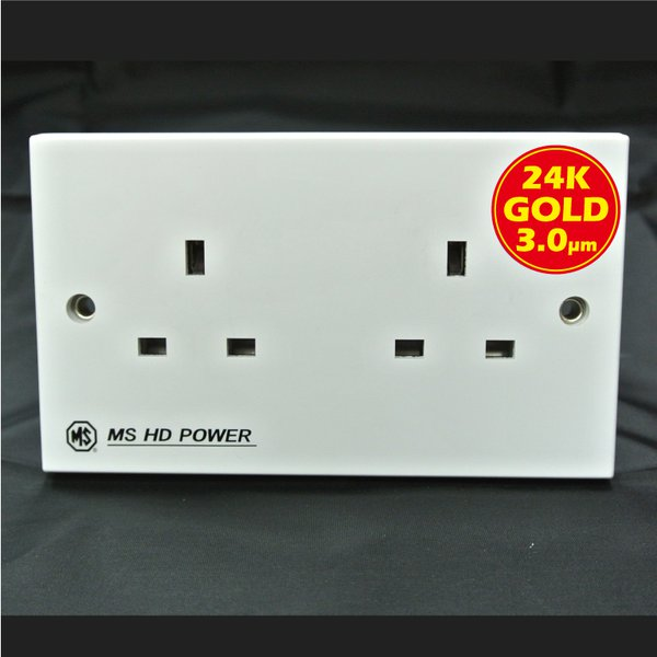 MS HD Power MS-9296G UK 2 gang wall socket for Audio and A/V Gold